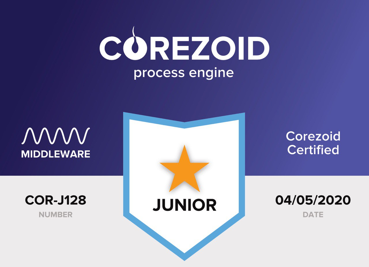 Middleware releases first 128 Corezoid certificates for developers